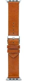 Dbramante1928 Copenhagen Strap For Apple Watch 42mm Silver/Dark Saddle Brown