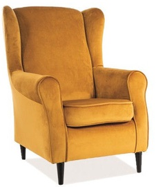Signal Meble Baron Velvet Armchair Yellow/Wenge