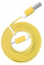 Global Technology Flat USB Lightning Cable For Apple 8pin Yellow