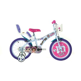 """Laste jalgratas Dino Bikes 616G, valge/roosa, 16"""""""