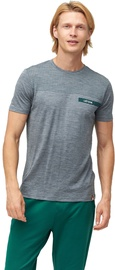 Audimas Mens Merino Wool Short Sleeve T-Shirt Mid Grey Printed S