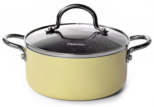 Fissman Mini Chef Casserole With Glass Lid D16cm 1.3l Yellow