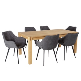 Home4you Chicago New/Naomi Dining Set 6 Chairs Oak/Dark Grey