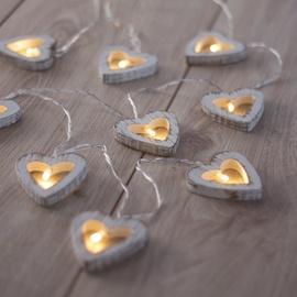 DecoKing Wooden Heart LED Lights 10pcs