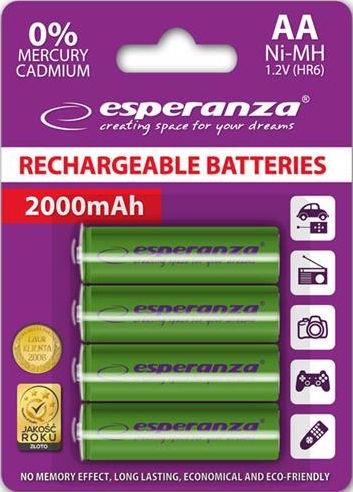 Esperanza Rechargaeble Batteries 4x AA 2000mAh Green