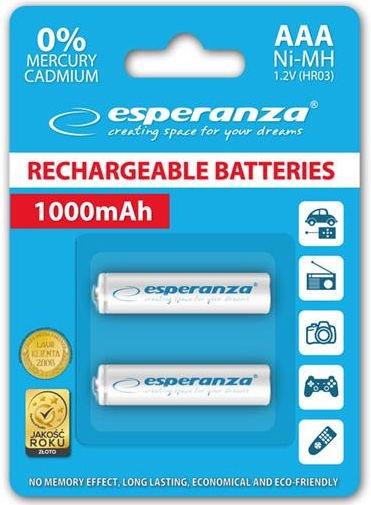 Esperanza Rechargaeble Batteries 2x AAA 1000mAh White
