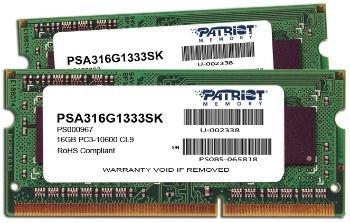 Patriot Mac Series 16GB 1333MHz CL9 DDR3 SODIMM KIT OF 2 PSA316G1333SK