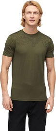 Audimas Mens Merino Wool Short Sleeve T-Shirt Olive Night Printed S