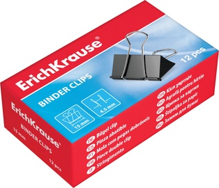 ErichKrause Binder Clips Black 15mm 12pcs