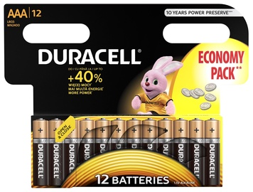 Duracell Alkaline Long Lasting Power Batteries 12x AAA