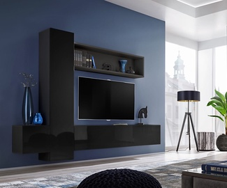 ASM Blox IX Living Room Wall Unit Set Black