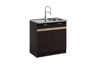 Нижний кухонный шкаф WIPMEB Livia LV-09/D 80Z Sink Dark Sonoma Oak, 800x445x820 мм