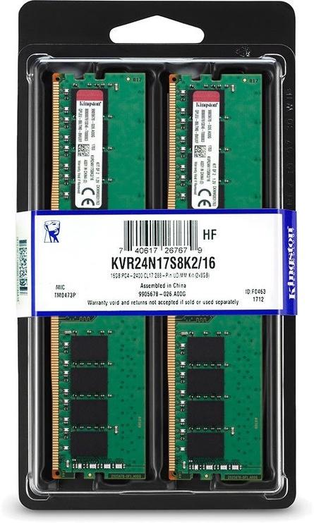 Kingston 8GB 2400MHz CL17 DDR4 KIT OF 2 KVR24N17S8K2/16