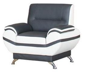 Kanclers Livonia Armchair Eco Leather Dark Gray/White
