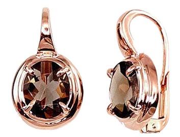 Diamond Sky Gold Earrings With Smoky Quartz Diana III