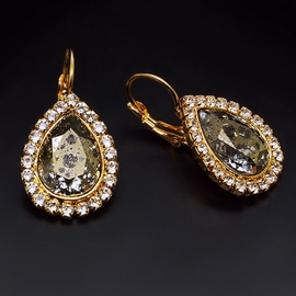 Diamond Sky Earrings With Crystals From Swarowski Heavenly Drop Gold Patina