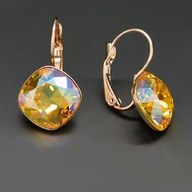 Diamond Sky Earrings With Crystals From Swarowski Blinding Brightness IV Light Topaz Shimmer