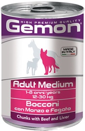 Monge Gemon Chunks Adult Medium Beef/Liver 415g