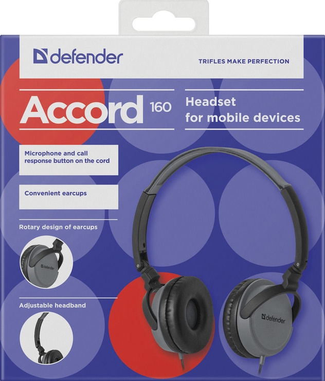 Defender Accord 160 On-Ear Earphones Black/Grey