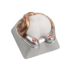 Zomoplus Cat Bottom Aluminum Keycap Silver/White