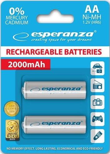 Esperanza Rechargaeble Batteries 2x AA 2000mAh White