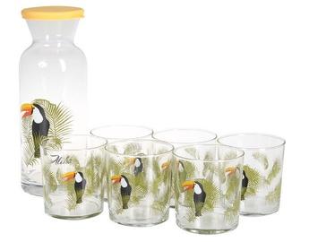 Pasabahce Bird Carafe And Glass Set 1.26l 380ml 7pcs