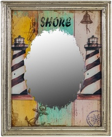 Home4you Mirror Lighthouse 47x39x2cm Antique Silver 76144