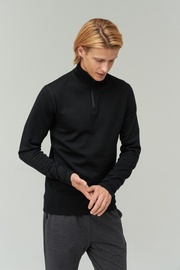 Audimas Merino Wool Blend Half-Zip Jumper Black L