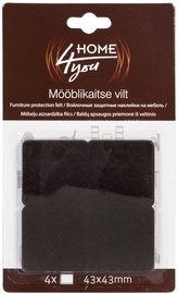 Home4you Furniture Protective Felt 43x43mm Black 4pcs