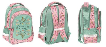 Paso Minnie Mouse School Backpack w/ Pencil Case & Wallet & Shoe Bag Green/Pink