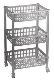 Plast Team Eco Trolley With 3 Baskets 39.4x29x16.5/68.5cm Grey