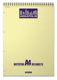 ErichKrause Wirebound Notepad Megapolis Yellow Concept 80 Sheets A4