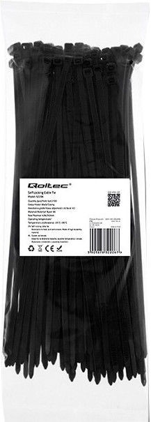 Qoltec Zippers Nylon UV 4.8x250mm 100pcs. Black