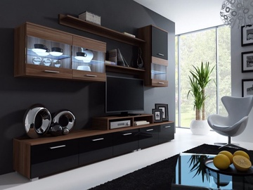 Cama Meble Wall Unit Logo II Plum/Black Gloss