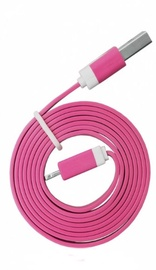 Global Technology Flat USB Lightning Cable For Apple 8pin Dark Pink