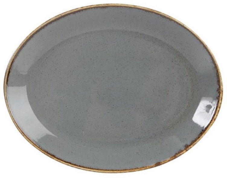 Porland Seasons Oval Plate 18.55x24.3cm Dark Grey