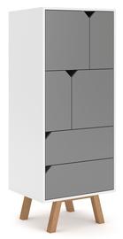 Riidekapp Vivaldi Meble Tokio TK4 White/Grey Mat, 157x42x140 cm