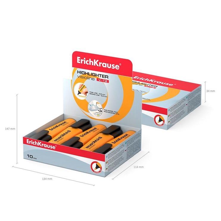ErichKrause Visioline Highlighter V-12 10pcs Orange