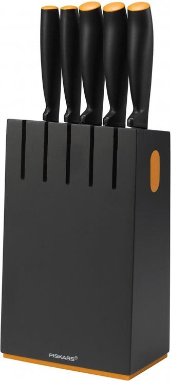 Fiskars Functional Form Black Wood Knife Block with 5 Knives