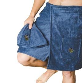 Embroidered sauna apron 55x150 cm, blue 100% cotton