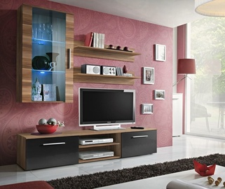 ASM Galino E Wall Unit Plum/Black Gloss/Plum