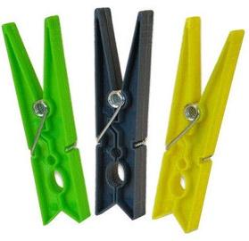 Sauber Laundry Pegs Plastic 10PCS Green/Yellow/Grey
