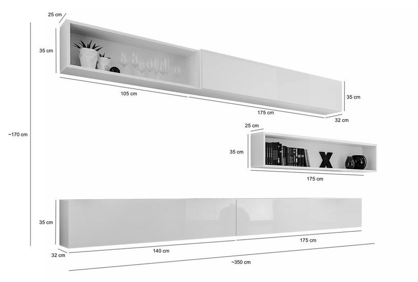ASM Blox X Living Room Wall Unit Set Black
