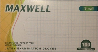 Maxwell Powder Free Latex Examination Gloves S 100pcs