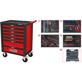 KSTools RACINGline Tool Cabinet w/ 7 Drawers And 515 Premium Tools Red/Black
