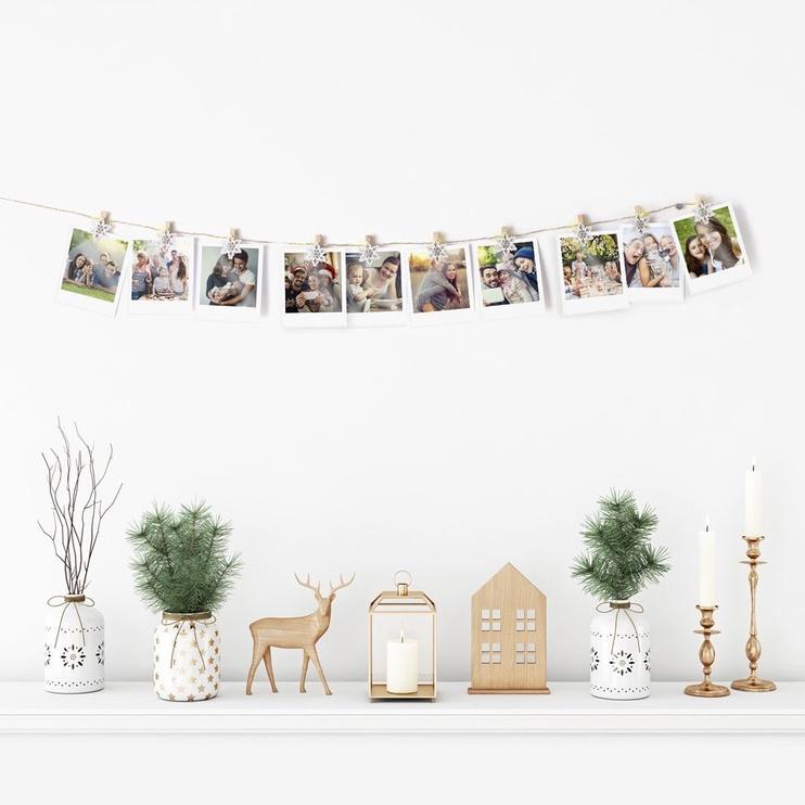 Jõulutuled DecoKing Kaleo Snowflake Wood LED w/ Clips, 10 tk