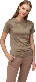 Audimas Merino Wool Short Sleeve T-Shirt Pine Bark Printed L