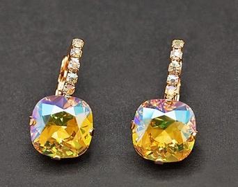 Diamond Sky Earrings Glare VII Light Topaz Shimmer With Swarovski Crystals