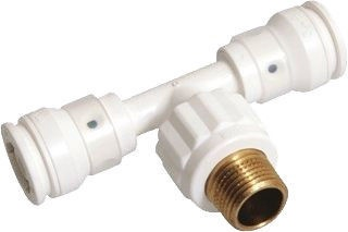 """Henco 3-Way Connector with External Thread Push-Fitting 20-1/2""""M-20mm"""