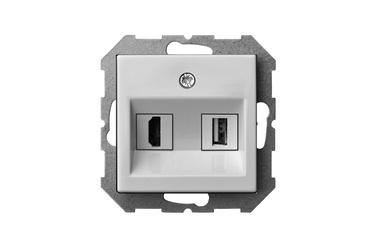 Liregus Epsilon Telecommunication Socket HDMI+USB-002-01 White